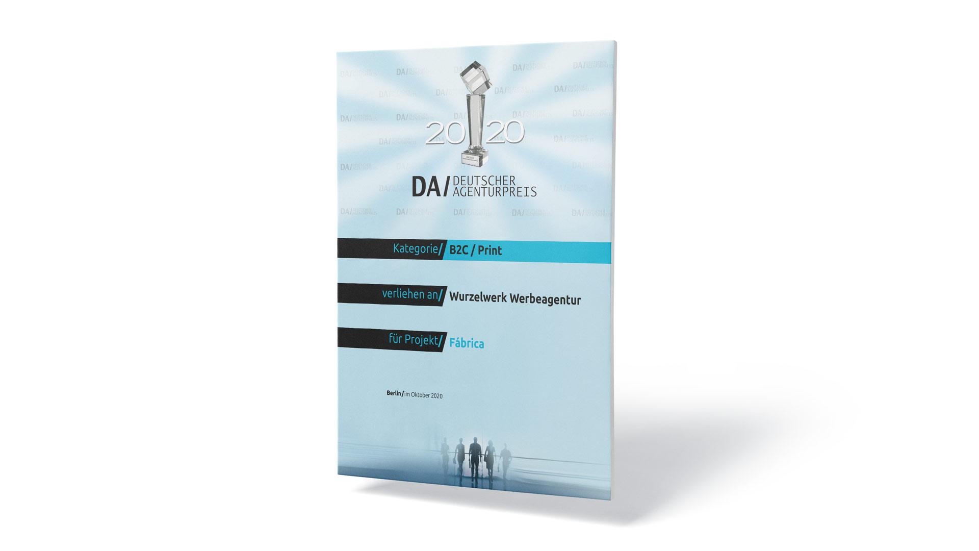 Gewinner-Urkunde des Deutschen Agenturpreises für Print für Wurzelwerk