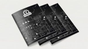 A5-Broschüre als Werbemittel im industriellen Stil von Wurzelwerk