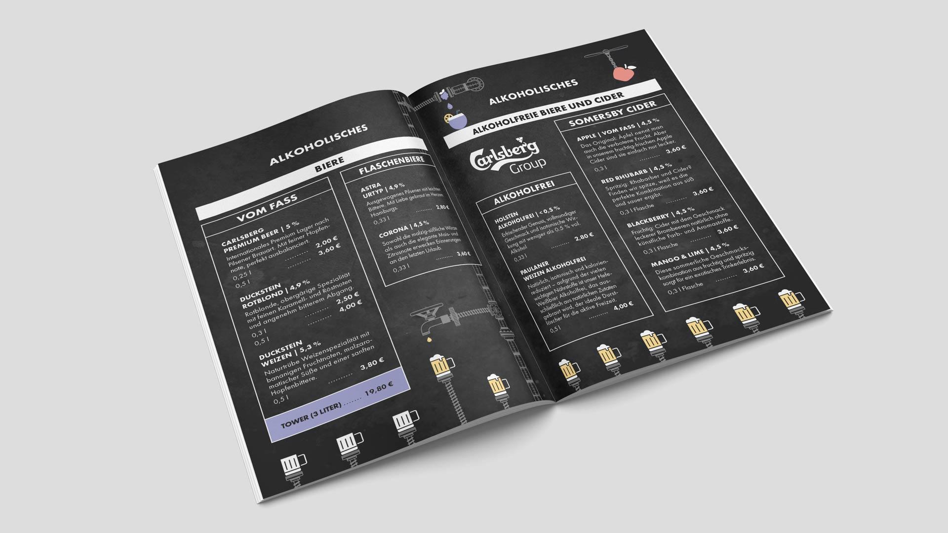 Werbemittel und Printmedien für das Café Fábrica mit Icons und farbigen Akzenten von Wurzelwerk