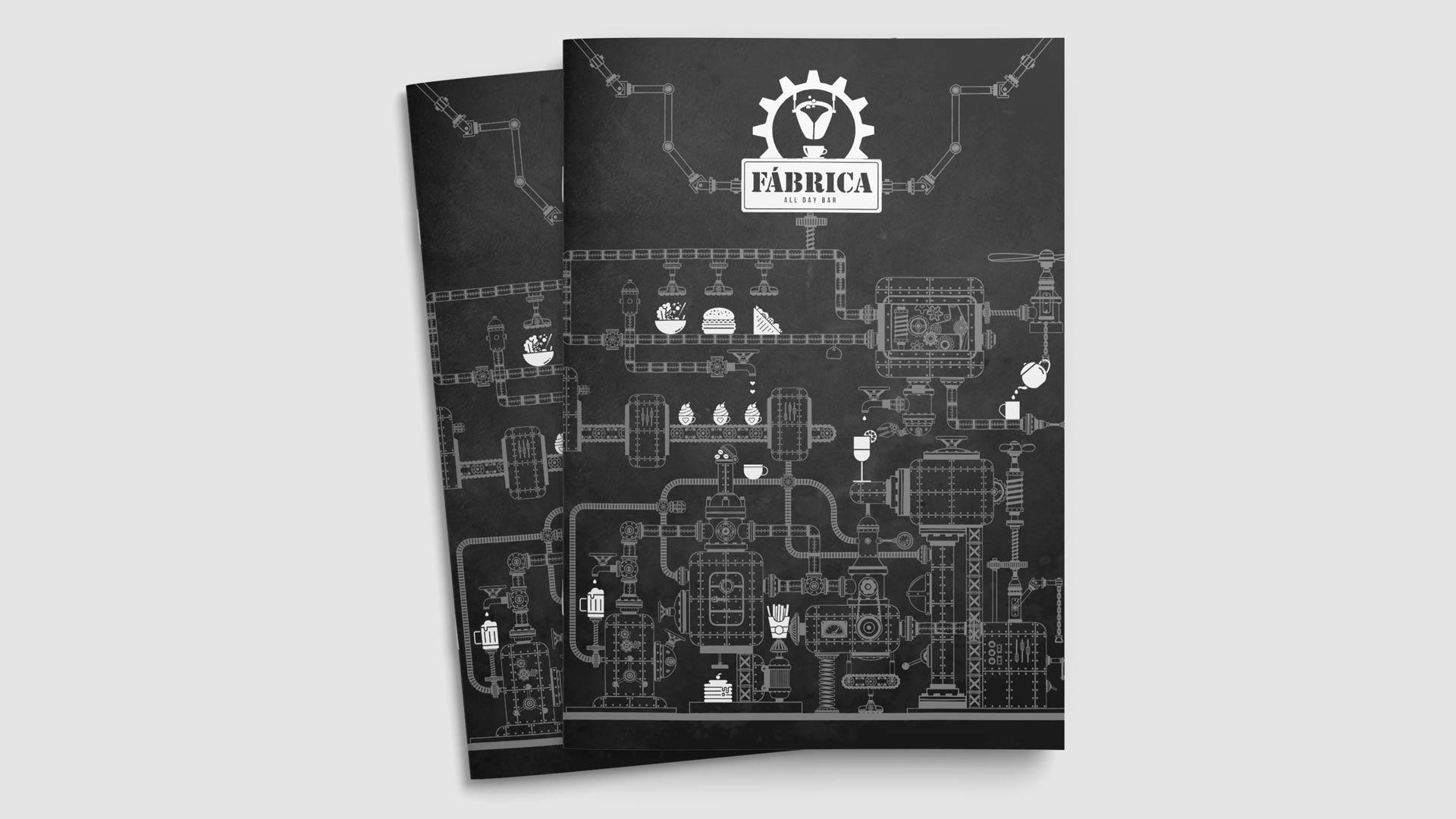 Das Cover der Printmedien (hier die Speisekarte) mit neuem Logo für das Café Fábrica