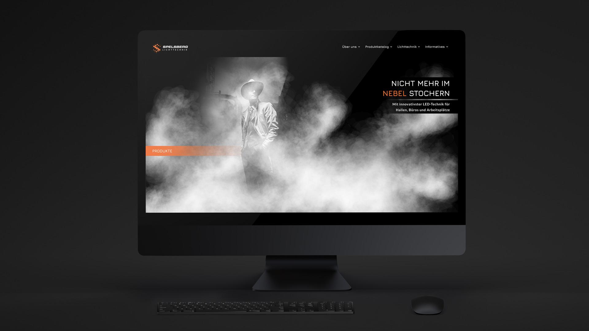 Landing Page der Website für Spelsberg Lichttechnik von Wurzelwerk