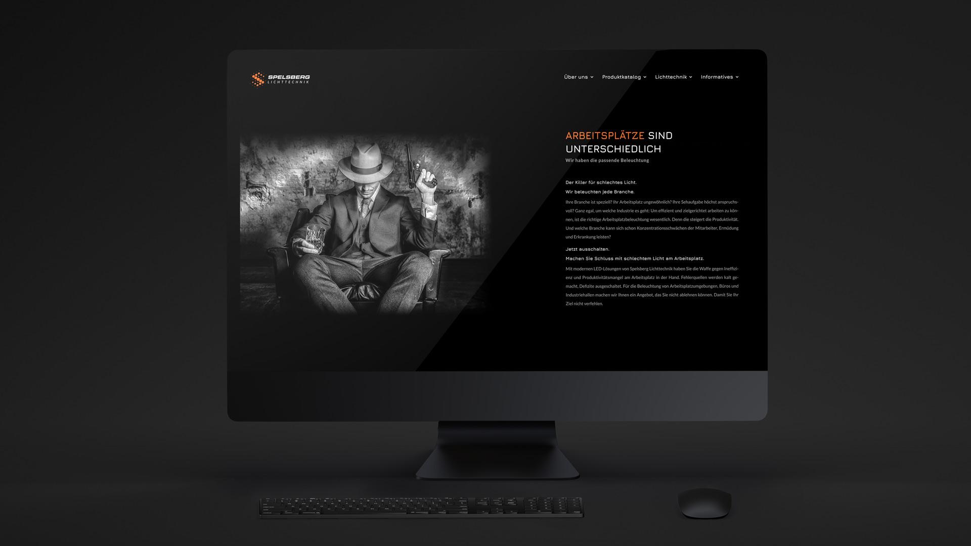 Dunkles Webdesign mit frischen Farbakzenten von Wurzelwerk