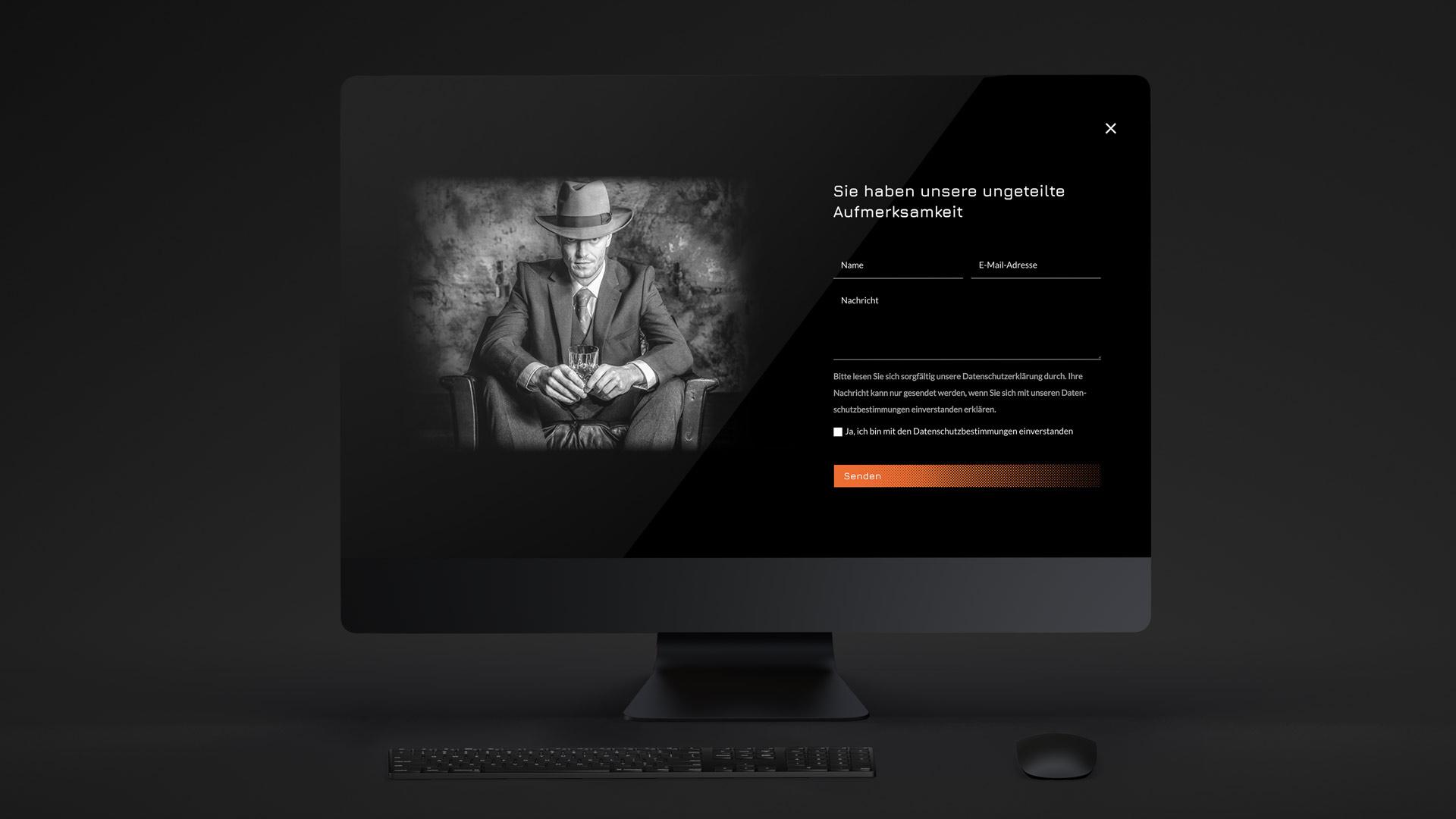 Modernes Webdesign im Dark Mode mit neon-orangen Akzenten von Wurzelwerk