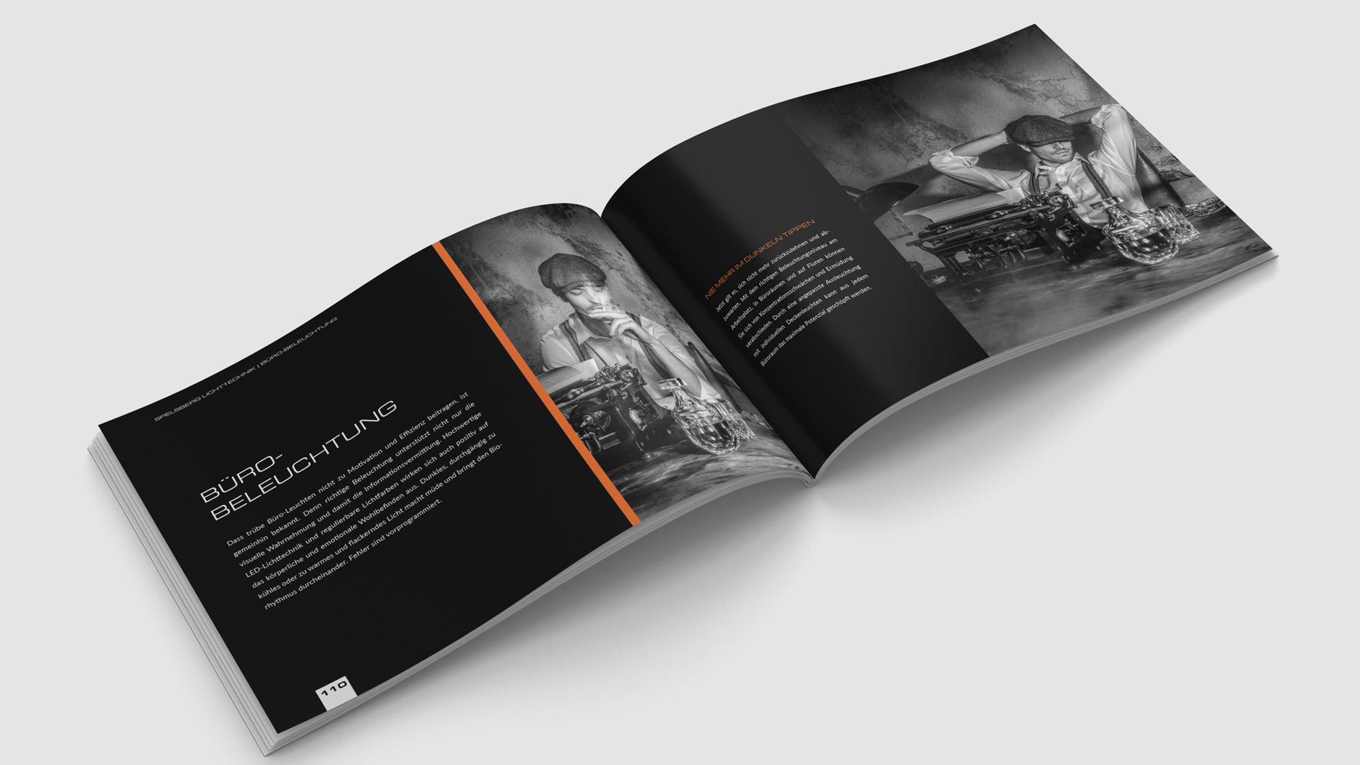 Ein Beispiel für die cleane und dynamische Gestaltung der Broschüre von Wurzelwerk