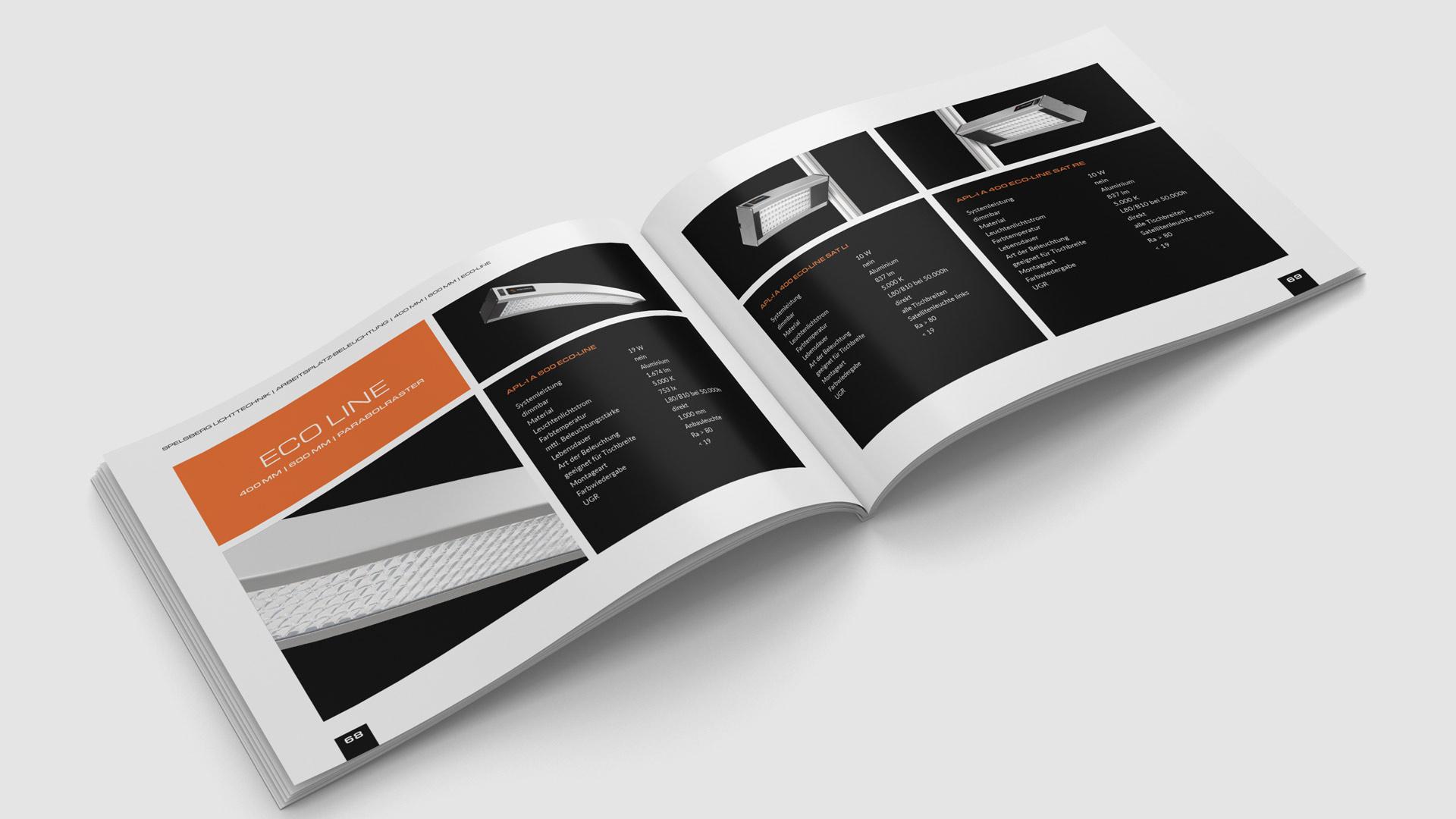 Image- und Produktkatalog mit neon-orangen Akzenten und klarer Typografie von Wurzelwerk